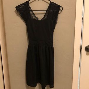 Little Black Dress Lace Sleeve Open Back Med